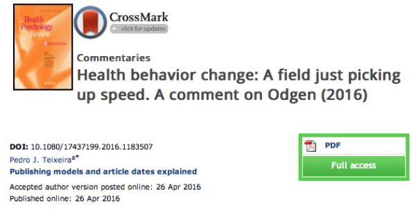 Health behavior change: a field just picking up speed. A comment on Ogden (2016)